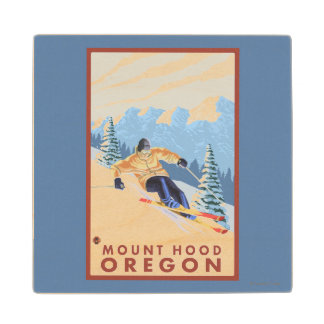 Downhhill Snow Skier - Mount Hood, Oregon Maple Wood Coaster