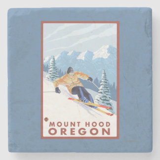 Downhhill Snow Skier - Mount Hood, Oregon Stone Beverage Coaster