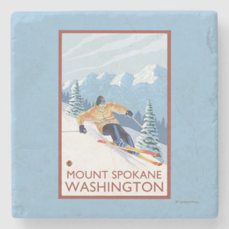 Downhhill Snow Skier - Mount Spokane, Stone Coaster