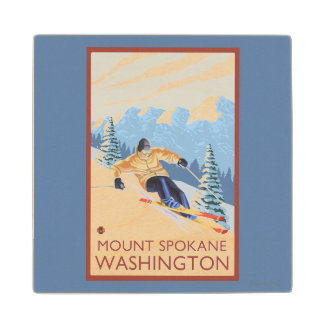 Downhhill Snow Skier - Mount Spokane, Wood Coaster