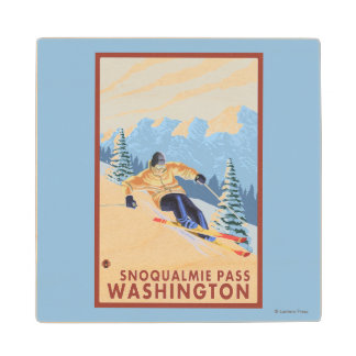 Downhhill Snow Skier - Snoqualmie Pass, WA Maple Wood Coaster