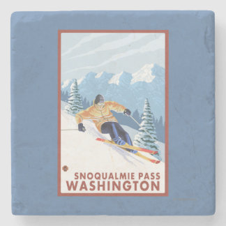 Downhhill Snow Skier - Snoqualmie Pass, WA Stone Beverage Coaster