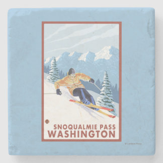 Downhhill Snow Skier - Snoqualmie Pass, WA Stone Coaster