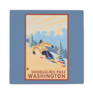 Downhhill Snow Skier - Snoqualmie Pass, WA Wood Coaster
