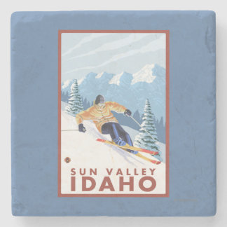 Downhhill Snow Skier - Sun Valley, Idaho Stone Beverage Coaster