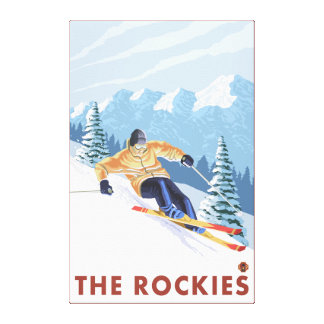 Downhhill Snow Skier - The Rockies Canvas Print