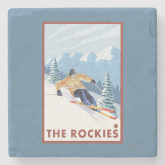 Downhhill Snow Skier - The Rockies Stone Coaster