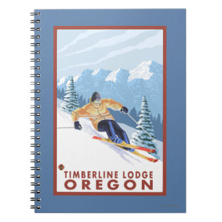 Downhhill Snow Skier - Timberline Lodge, Oregon Notebook