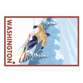 Downhhill Snow Skier - Washington Postcard