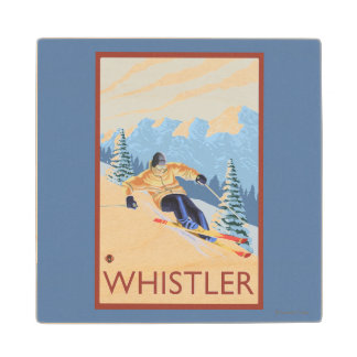 Downhhill Snow Skier - Whistler, BC Canada Maple Wood Coaster