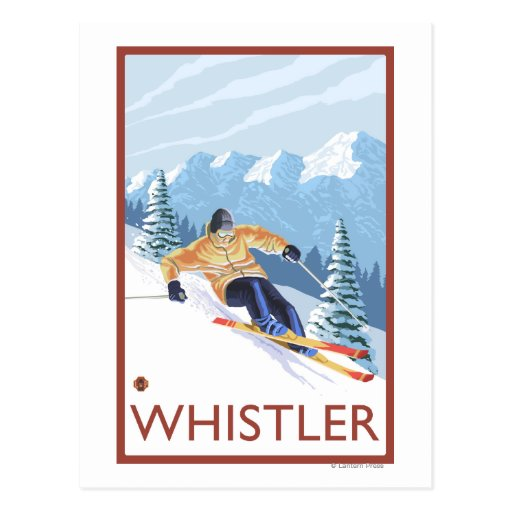 Downhhill Snow Skier - Whistler, BC Canada Postcards