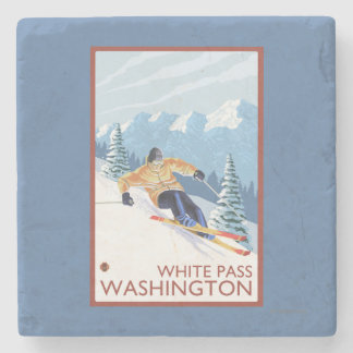 Downhhill Snow Skier - White Pass, Washington Stone Beverage Coaster