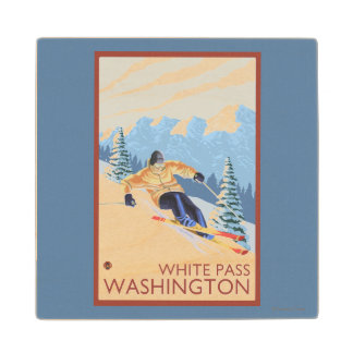 Downhhill Snow Skier - White Pass, Washington Wood Coaster