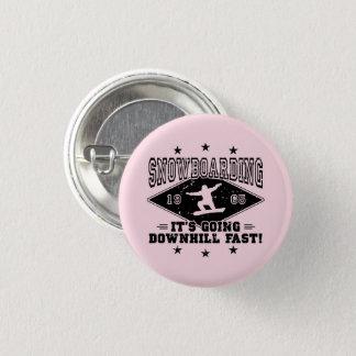 DOWNHILL FAST! (blk) 3 Cm Round Badge