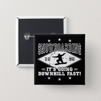 DOWNHILL FAST! (wht) 15 Cm Square Badge