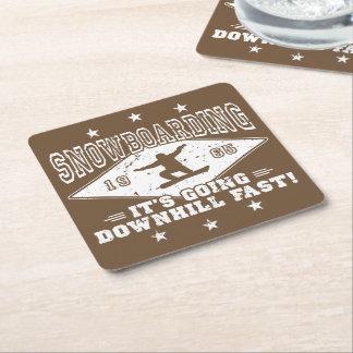 DOWNHILL FAST! (wht) Square Paper Coaster