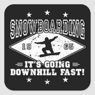 DOWNHILL FAST! (wht) Square Sticker
