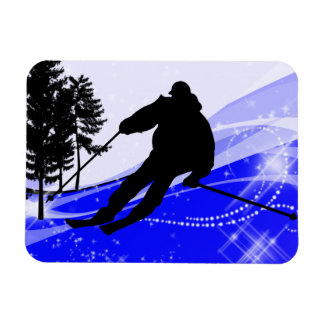 Downhill on the Ski Slope Rectangular Magnet