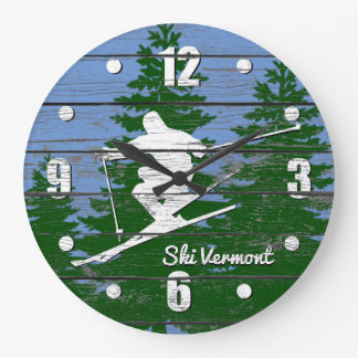 Downhill Ski Personalize Large Clock