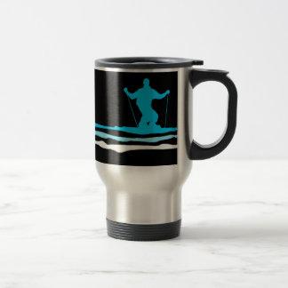 downhill ski stripes travel mug