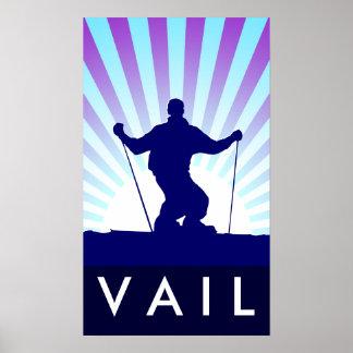 downhill ski vail poster