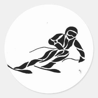Downhill Skier Classic Round Sticker