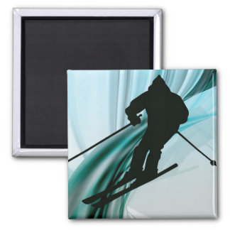 Downhill Skier on Icy Ribbons Refrigerator Magnet