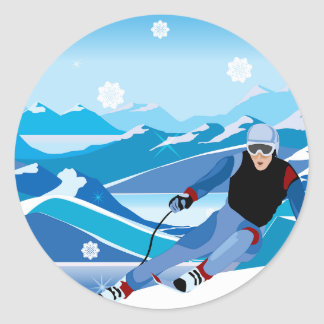 Downhill Skier Stickers