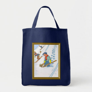 Downhill skiing grocery tote bag