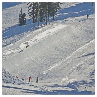Downhill Skiing Winter Scene Fabric
