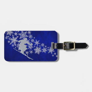 Downhill Snow Ski Blue Luggage Tag
