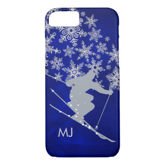 Downhill Snow Ski Blue Monogram iPhone 8/7 Case