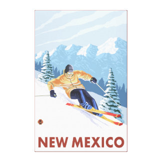 Downhill Snow SkierNew Mexico Gallery Wrap Canvas