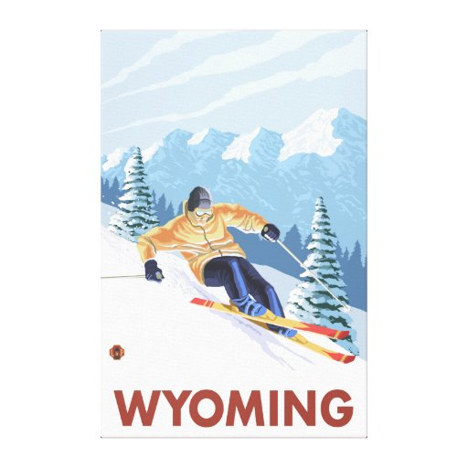 Downhill Snow SkierWyoming Gallery Wrapped Canvas
