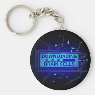 Downloading brain cells. basic round button key ring