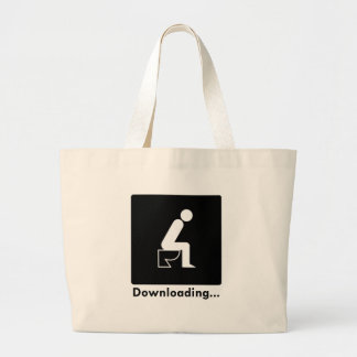 Downloading Poop Large Tote Bag