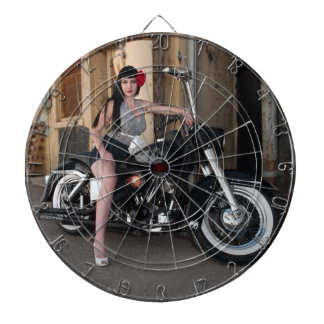 Downtown Alley Motorcycle Rockabilly Pin Up Girl Dartboard