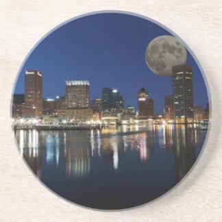 Downtown Baltimore Maryland Dusk Skyline Moon Beverage Coaster