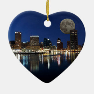 Downtown Baltimore Maryland Dusk Skyline Moon Ceramic Ornament