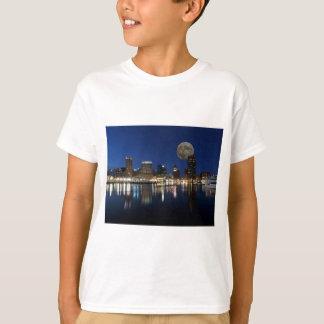 Downtown Baltimore Maryland Dusk Skyline Moon T-Shirt