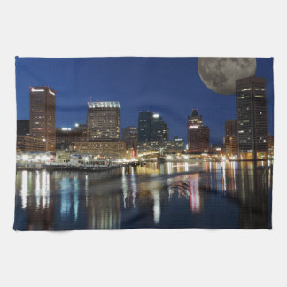 Downtown Baltimore Maryland Dusk Skyline Moon Tea Towel