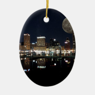 Downtown Baltimore Maryland Night Skyline Moon Ceramic Ornament