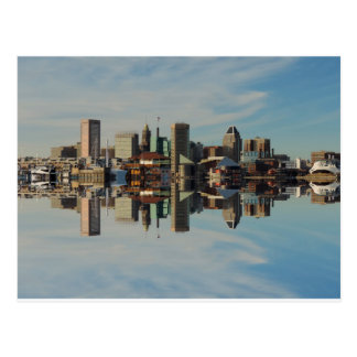 Downtown Baltimore Maryland Skyline Reflection Postcard