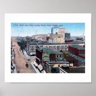 Downtown, Cedar Rapids, Iowa 1913 Vintage Poster