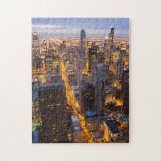 Downtown Chicago skyline at dusk Puzzles