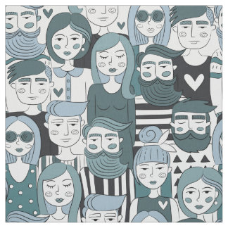 Downtown Crowd Faces Blue ID494 Fabric