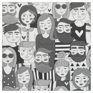 Downtown Crowd Faces Grey ID494 Fabric