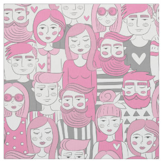 Downtown Crowd Faces Pink ID494 Fabric