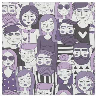 Downtown Crowd Faces Purple ID494 Fabric