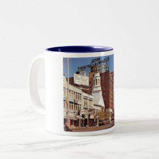 Downtown, Elizabeth, New Jersey Vintage Two-Tone Coffee Mug